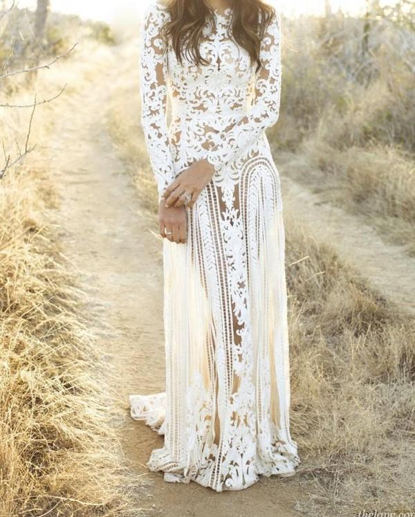 Dress: white, lace, maxi