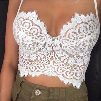 blouse crop tops cut out white crop tops summer white crochet dress shirt clothes