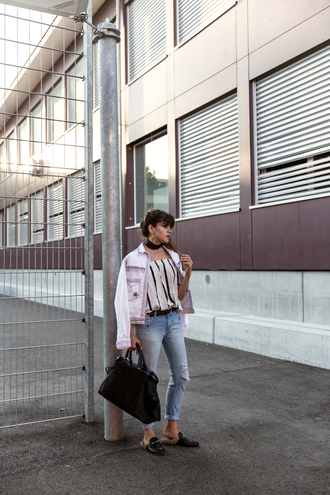 the fashion fraction blogger jacket top jeans jewels bag striped top pink jacket cuffed jeans blue jeans ripped jeans black bag handbag choker necklace black choker gucci gucci shoes gucci mules slide shoes black slides absolutemarket