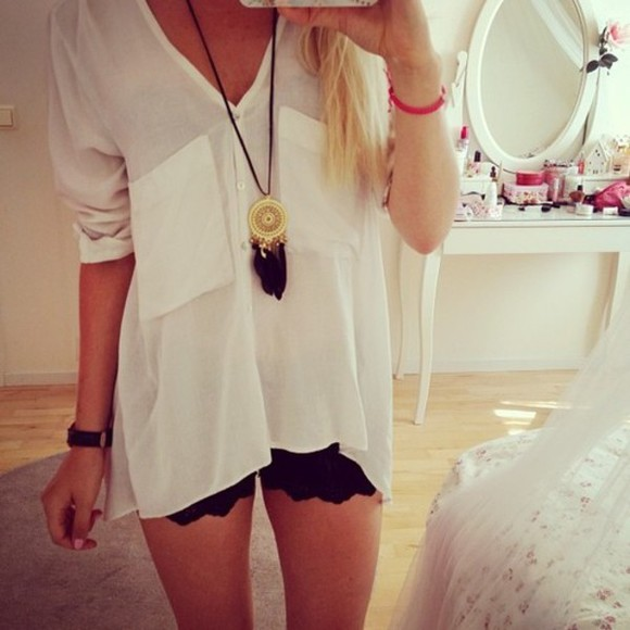 ivory blouse loose sweater white cream baggy winter outfits cosy soft jumper pocket big oversized black shorts fall outfits fall outfits summer outfits necklace watch girl lace sheer jewels