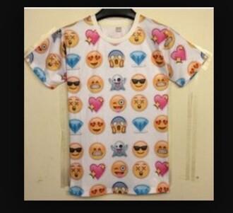 shirt t-shirt white emoji tee