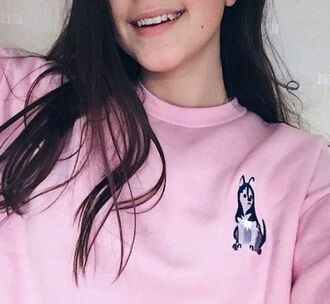 sweater sweatshirt dog pastel pastel pink winter outfits fall outfits kawaii cute pretty cool love lovely girl girly korean fashion pink sweater