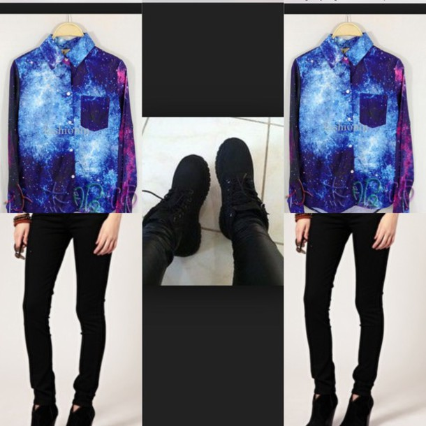 top galaxy print button up long sleeves