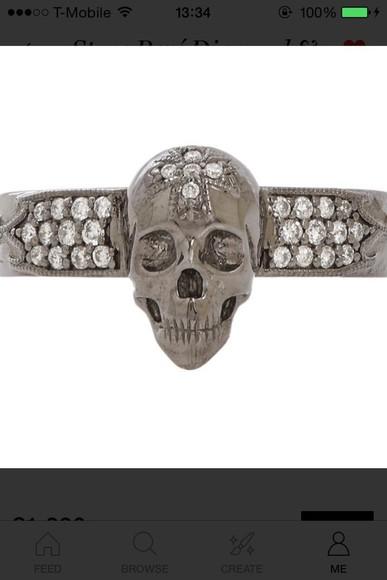 skull jewels ring punk