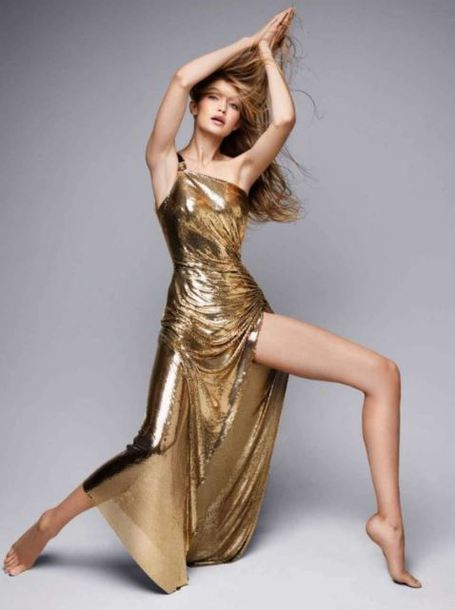 dress gold maxi dress gown prom dress editorial gigi hadid one shoulder