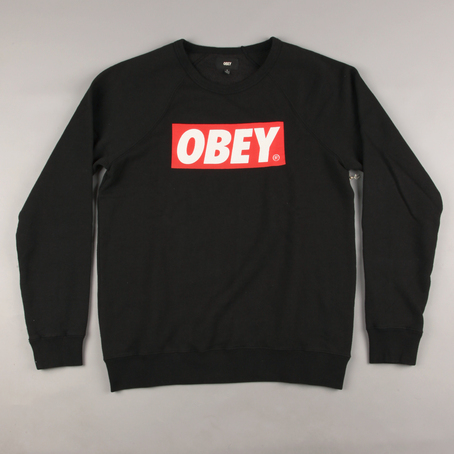 Obey The Box Crew Sweater - Black at Ozzys Clothing