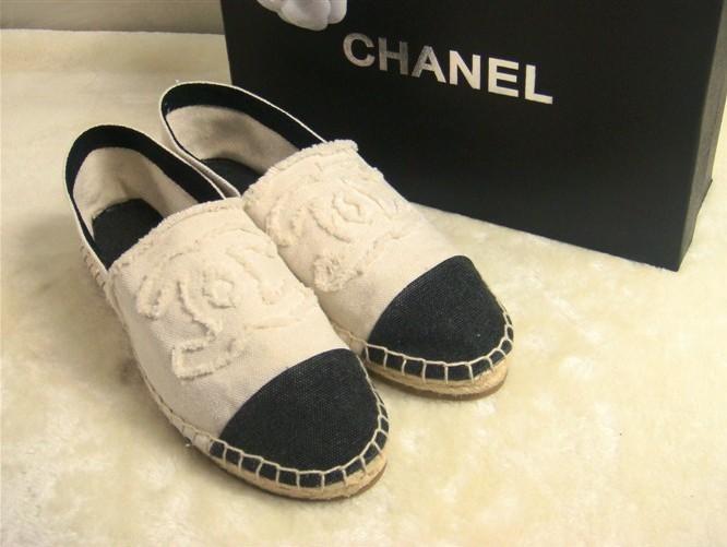 chanel canvas espadrille flat shoes sneakers beige
