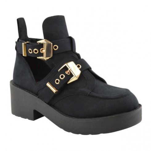 Faye Black Suede Gold Buckle Cut Out Boots - Parisia Fashion
