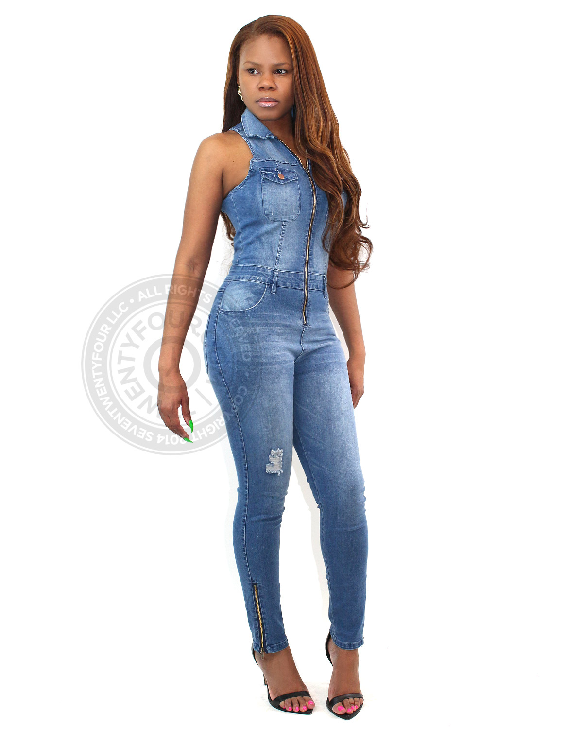sleeveless denim jumpsuit contemporary clothing
