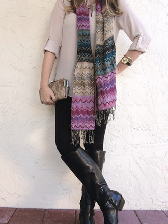 a pretty penny blogger scarf leggings knee high boots