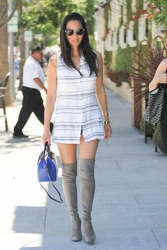 shoes dress olivia munn shorts bag sunglasses stacked bracelets boots thigh high boots