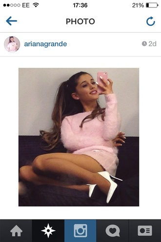 sweater fluffy jumper knitwear knitted sweater pink light pink dress white shoes ariana grande