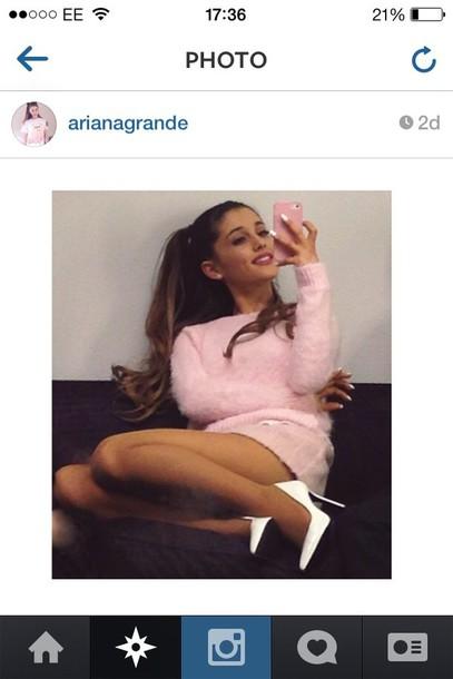 sweater fluffy jumper knitwear knitwear knitted sweater pink light pink dress white shoes ariana grande