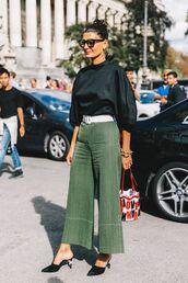 shoes,belt,white belt,top,black top,pants,green pants,mules,black mules,bag