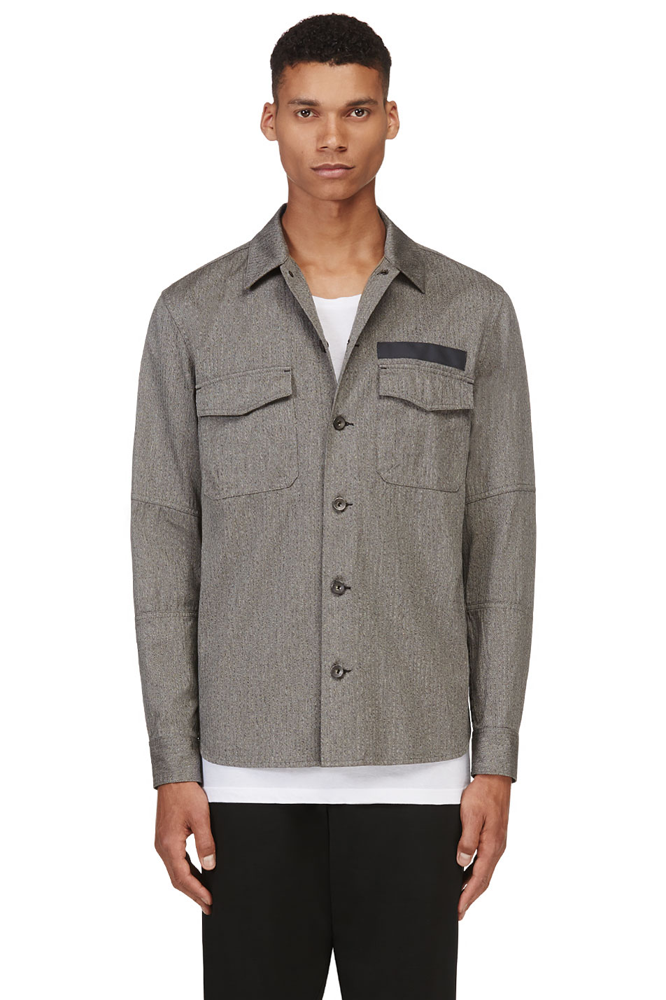 rag and bone grey herringbone mason jacket