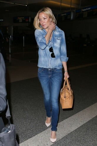 jeans denim pumps shirt denim shirt kate hudson