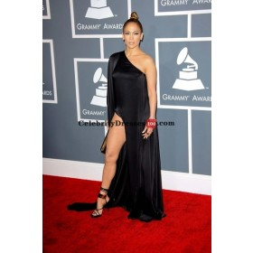 Jennifer Lopez Black One-shoulder Chiffon A-line Red Carpet Dresses Grammy Awards 2013
