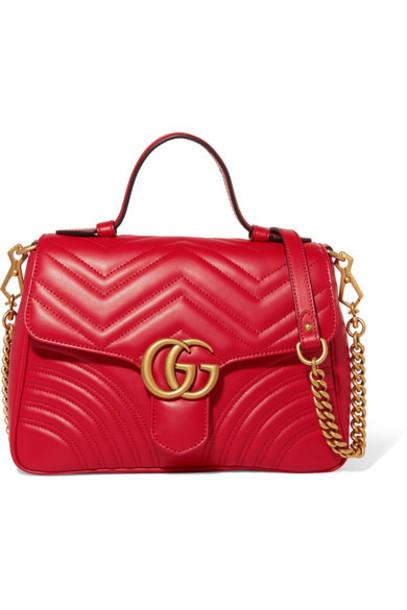 gucci quilted bag shoulder bag leather red