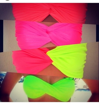swimwear bikini bikini top neon swimsuit orange yellow pink green girly fashion prom dress high low top