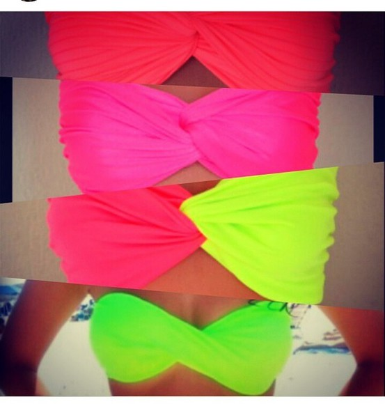 swimwear bikini girly orange bikini top green fashion neon swimsuit pink yellow