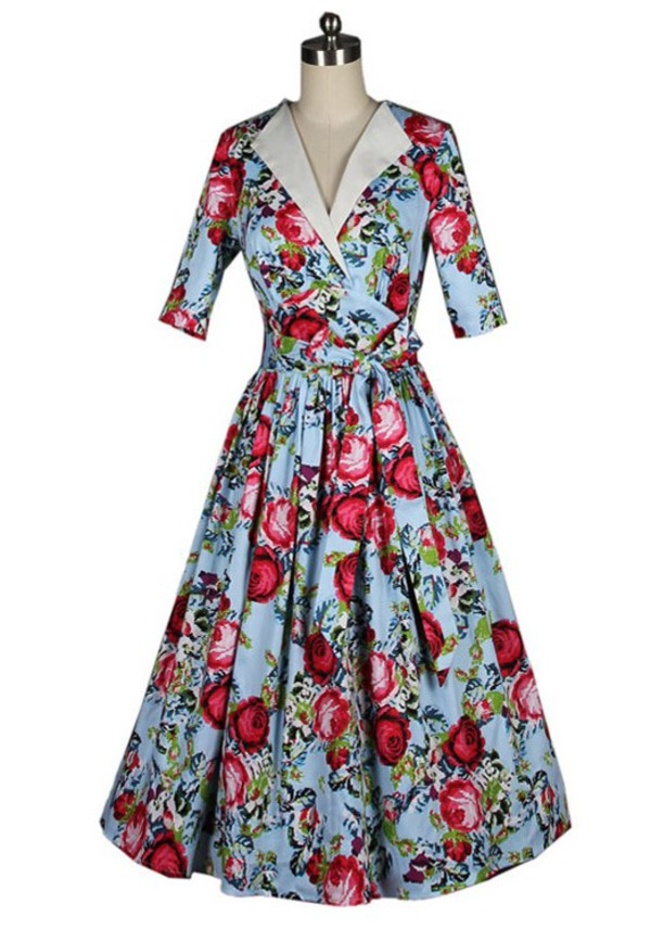 50s style vintage dress audrey hepburn Pin up floral dress fashion dress 50s style women's dress autumn/winter dress