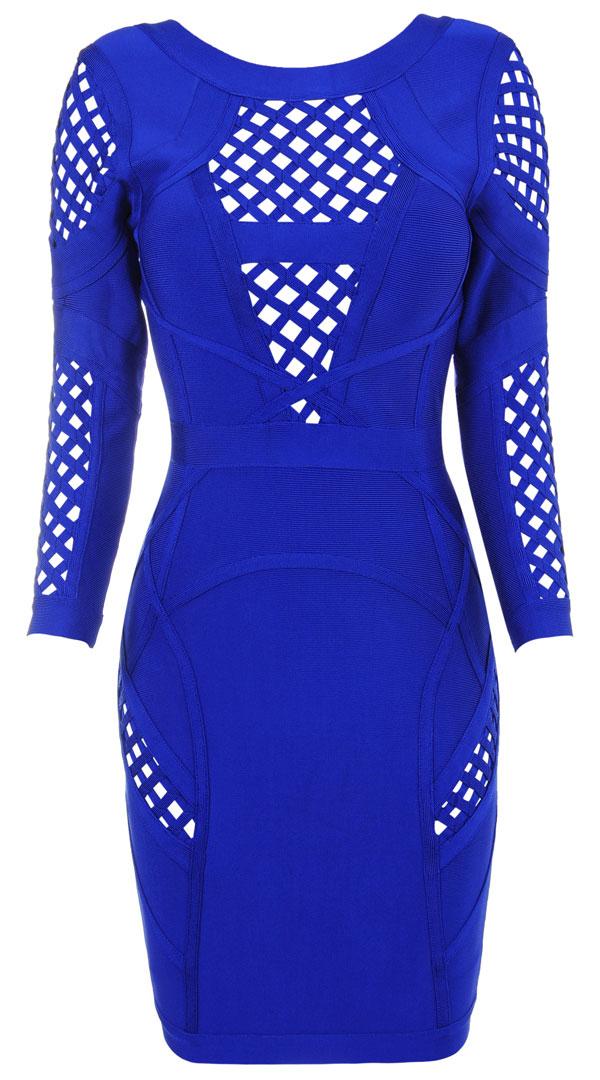 Clothing : Bandage Dresses : 'Selena' Cobalt Blue Mid Sleeve Bandage Dress