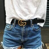 belt,tumblr,gucci,gucci belt,logo belt,t-shirt,white t-shirt,shorts,denim shorts,blue shorts
