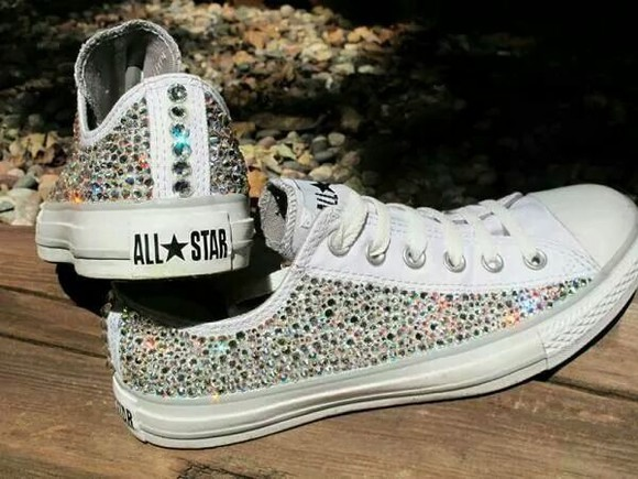 converse sparkly shoes silver shoes jewels