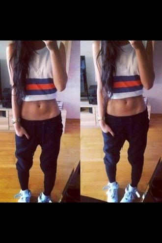 pants black hipster sweatpants shirt joggers tank top white nike t-shirt sweats t shirt crop tops training pants shoes baggy pants dope fashion style top tomboy baggy baggy trouser