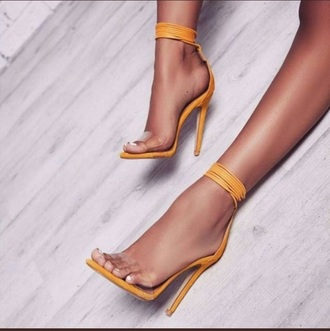 shoes mustard yellow heels strappy heels strappy see through clear stilettos