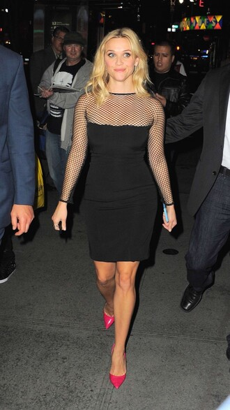 dress black dress mesh reese witherspoon mesh dress