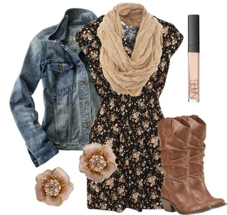 dress jacket denim denim jacket floral floral dress flower earrings earrings boots cowboy cowboy boots tan scarf tan scarf shoes