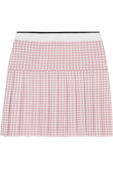 Pleated houndstooth wool mini skirt