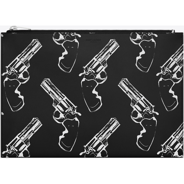 Classic Saint Laurent Paris Zipped Clutch In Black And White Gun Printed Leather