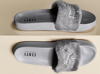 shoes girl girly girly wishlist puma puma slides fur fur slides rihanna fur slippers grey