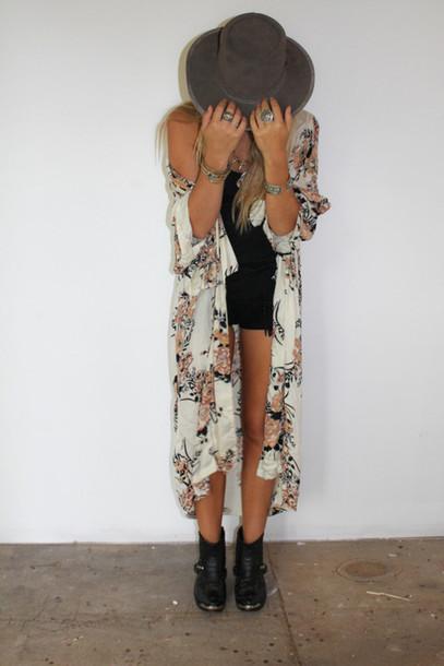 Cardigan kimono boho hippy summer white long kimono shorts nail polish jacket - Wheretoget