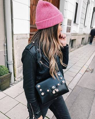 bag ted baker black bag jacket black jacket leather jacket beanie pink beanie