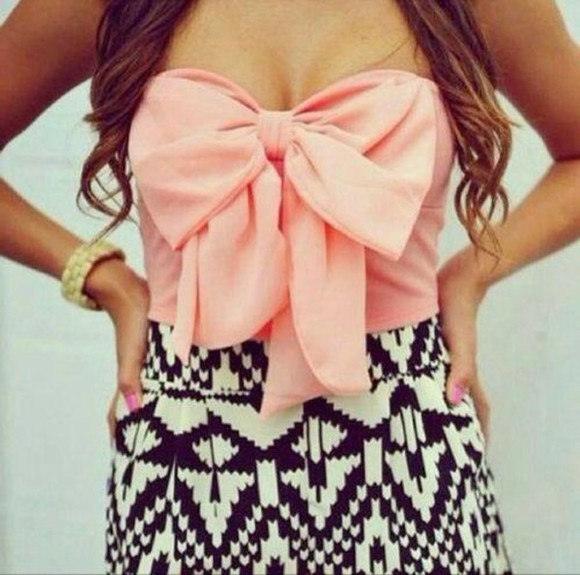 dress pink dress cute peach dress summer dress ariana grande pastel aztec amazing black and white bow bandeau