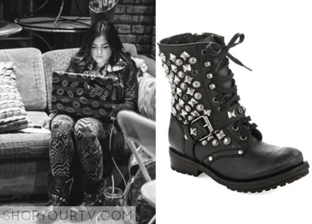 shoes black aria montgomery pretty little liars studded shoes combat boots rock