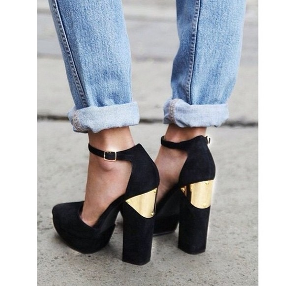 shoes high heels black gold classy vintage heels metal gold black and gold heels style coolshoes gold plated fashion chunky heels gold heels black heels mary jane