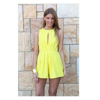 jumpsuit yellow yellow jumpsuit romper yellow romper yellow playsuit