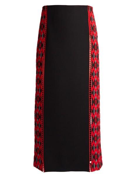 Fendi skirt midi skirt midi jacquard silk wool red