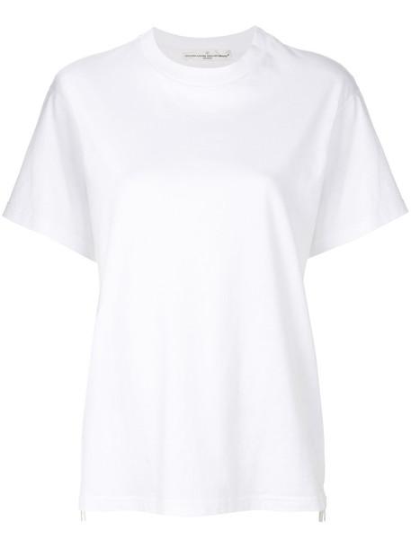 t-shirt shirt t-shirt zip women white cotton top
