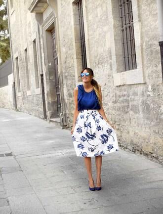 rebel attitude blogger skirt blue and white blue top midi skirt