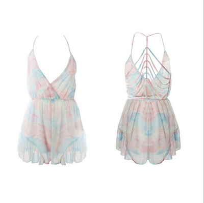 Sky print backline hole playsuit rompers · fe clothing · online store powered by storenvy