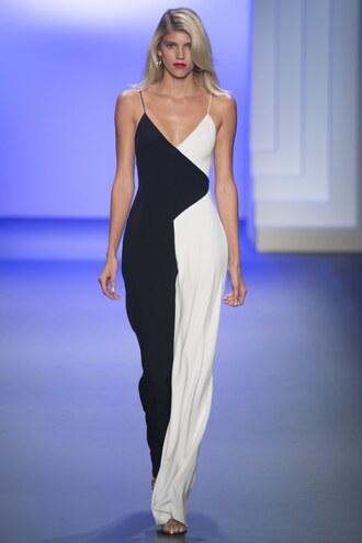 jumpsuit cushnie et ochs black and white pants wide-leg pants ny fashion week 2016 runway model