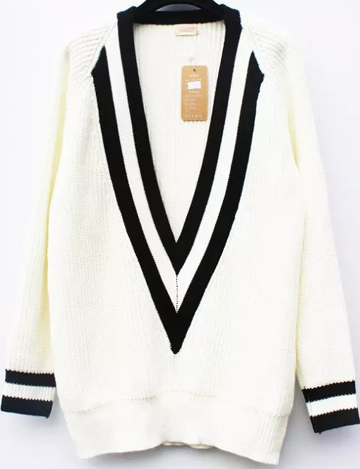 White V Neck Long Sleeve Striped Knit Sweater - Sheinside.com