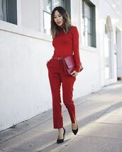 pants,red pants,top,red top,song of style,blogger,pumps,pointed toe pumps,bag,red bag,spring outfits,long sleeves