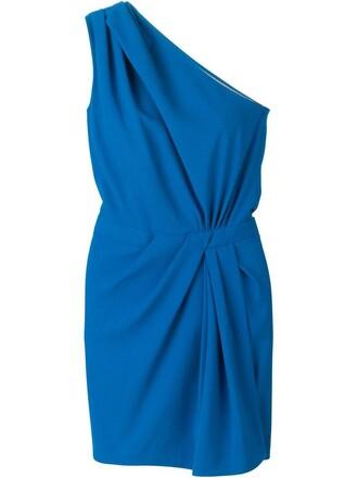 dress one shoulder dress women spandex blue wool