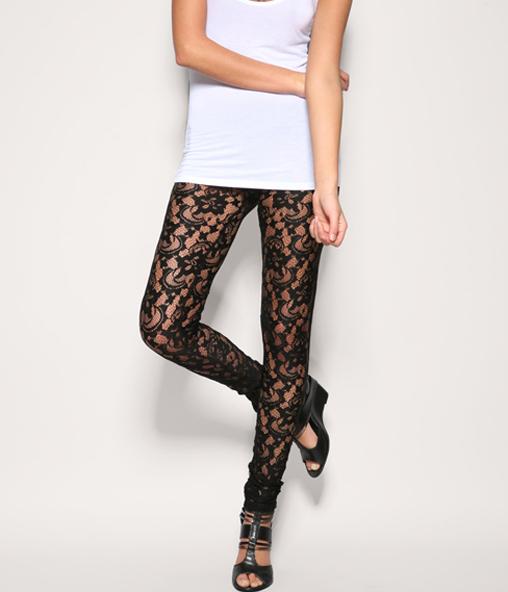 [US$25.99] - Sexy Black Rose Lace Leggings : ThatsPoint.com